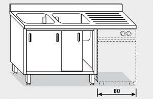 11961.18 Lavatoio per lavast. armadio g40 cm 180x70x85h 2v e sg dx - porte scorrevoli