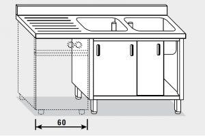 11962.18 Lavatoio per lavast. armadio g40 cm 180x70x85h 2v e sg sx - porte scorrevoli