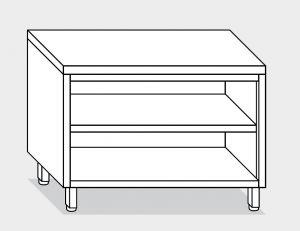 13000.12 Tavolo armadio a giorno g40 cm 120x60x85h piano liscio - ripiano intermedio e di fondo