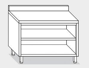 13001.18 Tavolo armadio a giorno g40 cm 180x60x85h alzatina posteriore- ripiano intermedio e di fondo