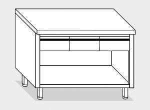 13003.14 Tavolo armadio a giorno g40 cm 140x60x85h piano liscio - 3 cassetti orizzontali