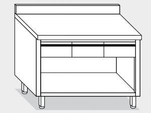 13004.17 Tavolo armadio a giorno g40 cm 170x60x85h alzatina posteriore - 4 cassetti orizzontali