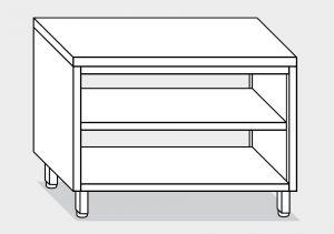 13102.14 Tavolo a giorno passante g40 cm 140x70x85h piano liscio - ripiano intermedio e di fondo