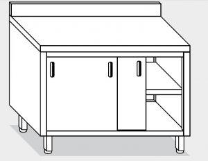 13201.14 Tavolo armadio g40 cm 140x60x85h alzatina posteriore - porte scorrevoli