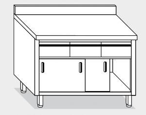 13254.15 Tavolo armadio g40 cm 150x80x85h alzatina post-3 cass orizzontali -porte scorrevoli