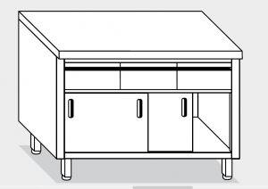 13303.14 Tavolo armadio g40 cm 140x70x85h piano liscio - 3 cass orizzontali-porte scorrevoli