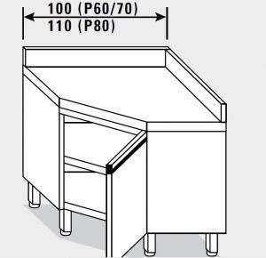 13503.10 Tavolo armadio g40 ad angolo cm 100x70x85h alzatina posteriore - porta a battente