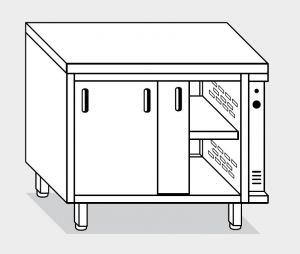 13600.19 Tavolo armadio caldo g40 cm 190x60x85h piano liscio - porte scorrevoli - 2 unita' calde
