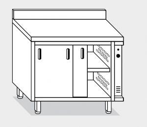 13601.14 Tavolo armadio caldo g40 cm 140x60x85h alzatina posteriore - porte scorrevoli