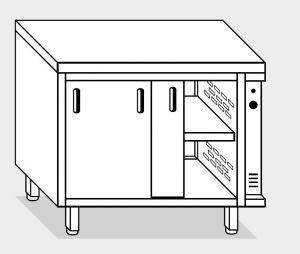 13602.19 Tavolo armadio caldo g40 cm 190x60x85h piano liscio - porte su due lati - 2 unita' calde