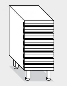 15301.07 Cassettiera pizze 7 cassetti g40 cm 70x48x81h con guide zincate telescopiche