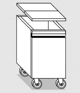 18035.78 Tramoggia carrellata semplice da cm 36x55x76h completa di coperchio