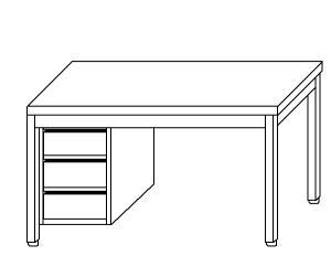TL5034 Tavolo da lavoro in acciaio inox AISI 304 cassettiera sx 60x60x85