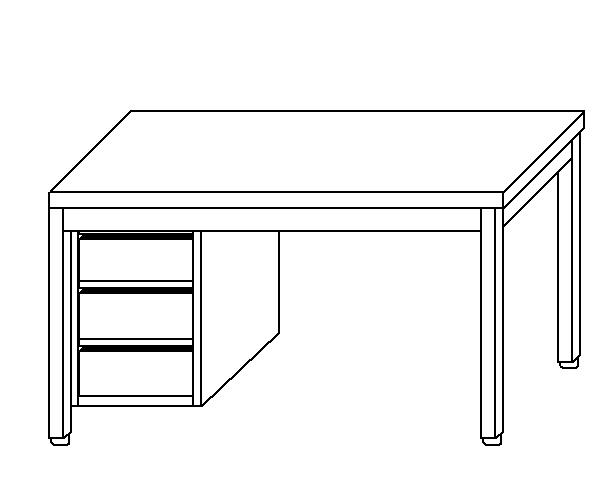 Tavolo da lavoro in acciaio inox AISI 304 su gambe con cassettiera SX sinistra