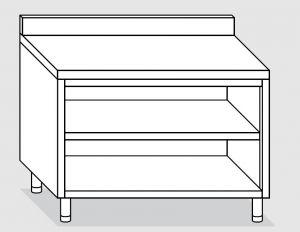 23001.20 Tavolo armadio a giorno agi cm 200x60x85h alzatina posteriore -ripiano intermedio e di fondo