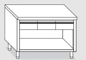 23003.13 Tavolo armadio a giorno agi cm 130x60x85h piano liscio - 3 cassetti orizzontali