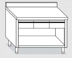 23004.12 Tavolo armadio a giorno agi cm 120x60x85h alzatina posteriore - 2 cassetti orizzontali