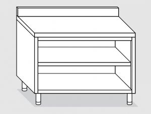 23101.14 Tavolo armadio a giorno agi cm 140x70x85h alzatina posteriore -ripiano intermedio e di fondo
