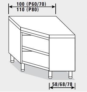 23500.10 Tavolo armadio agi ad angolo cm 100x70x85h piano liscio - a giorno