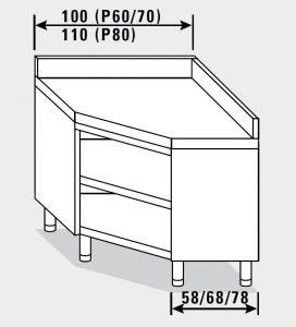 23501.10 Tavolo armadio agi ad angolo cm 100x70x85h alzatina posteriore - a giorno
