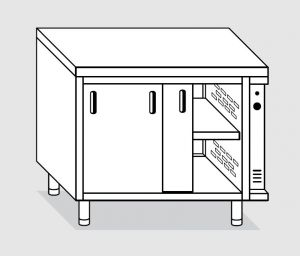 23700.18 Tavolo armadio caldo agi cm 180x70x85h piano liscio - porte scorrevoli - 2 unita' calde