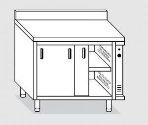 23701.12 Tavolo armadio caldo agi cm 120x70x85h alzatina posteriore - porte scorrevoli