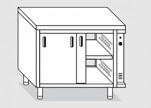 23702.10 Tavolo armadio caldo agi cm 100x70x85h piano liscio - porte scorrevoli su due lati