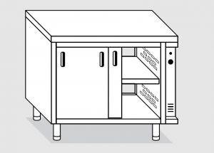 23702.18 Tavolo armadio caldo agi cm 180x70x85h piano liscio - porte su due lati- 2 unita' calde