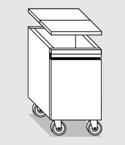 28035.78 Tramoggia carrellata semplice da cm 36x55x76h completa di coperchio