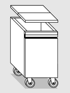 28036.78 Tramoggia carrellata semplice da cm 36x65x76h completa di coperchio