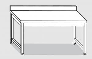 30001.14 Tavolo su 4 gambe past cm 140x80x85h alzatina posteriore-senza ripiano inferiore