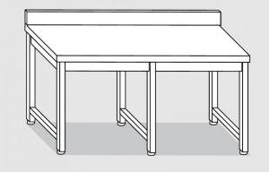 30101.24 Tavolo su 6 gambe past cm 240x90x85h alzatina posteriore-senza ripiano inferiore