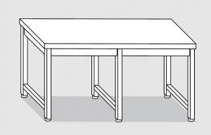 30200.26 Tavolo su 6 gambe past cm 260x120x85h piano liscio-senza ripiano inferiore